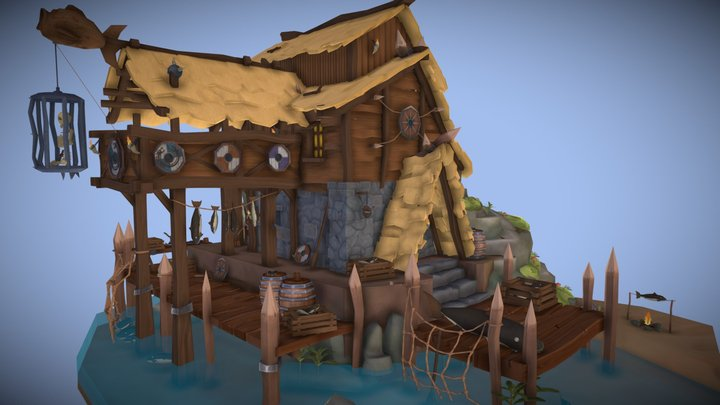 stylized viking fisherhouse 3D Model