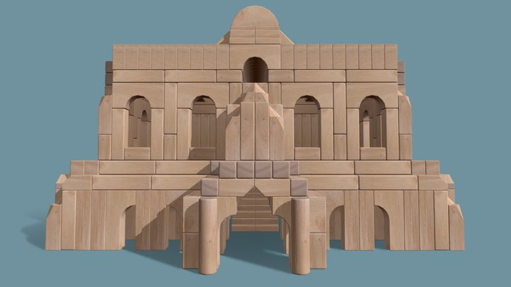 Wood Block Castle 3D Model