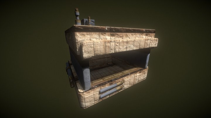 Sci Fi Desert Punk Hut Concrete and Metal Bunker 3D Model