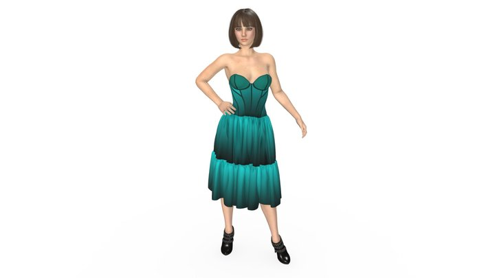 HD Fashion Model Tiered Gradient Dress 3D Model