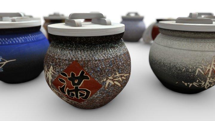 【3D模擬-上等】10斤鶯歌上等頂級米甕全系列顏色展示 3D Model