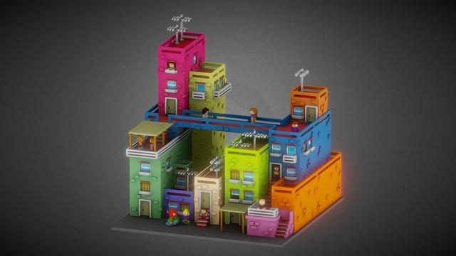 Voxel City - Voxel art 3D Model