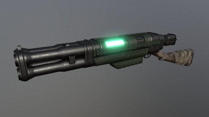 Quad Barrel Plasma Gun 3D Model