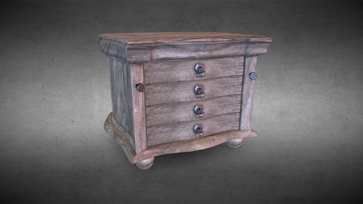 Dresser Drawer (Wood Rough) 3D Model