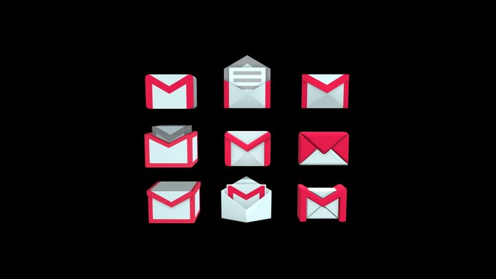 Gmail 3D icons 3D Model