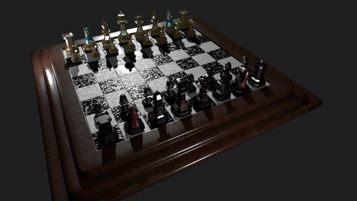 Chess Scene 3D Model