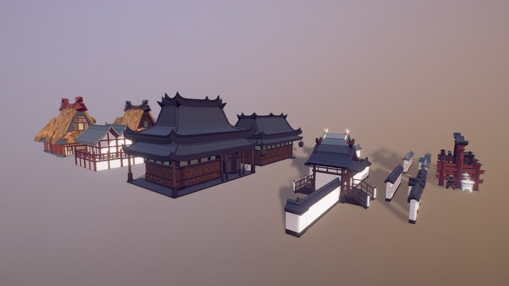 Asian Style Village ( Low Poly ) 3D Model