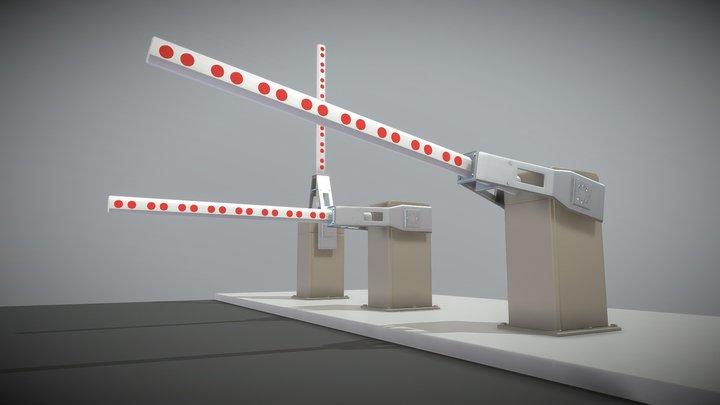 Railroad Barrier 2m (High-Poly) 3D Model