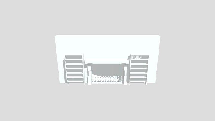 Living Room Bookshelf 3D Model