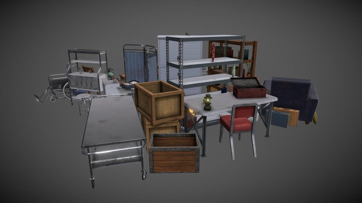 Madhouse Asylum Props 3D Model