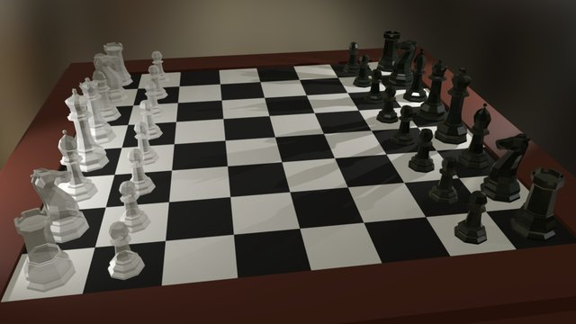 Low Poly Chess Board 3D Model