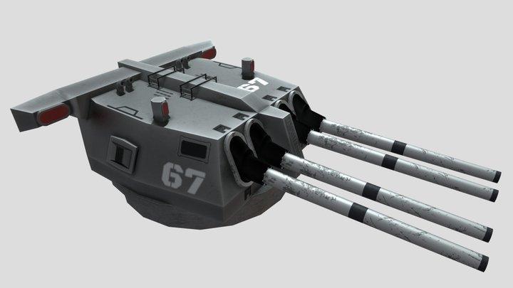U.S. Mark 15/16 19-inch 45 Caliber Turret 3D Model