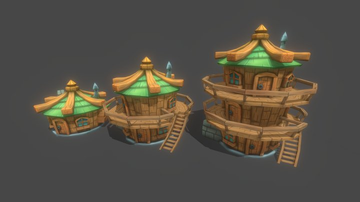 Fantasy Villager House Lowpoly Hand Painted 3D Model