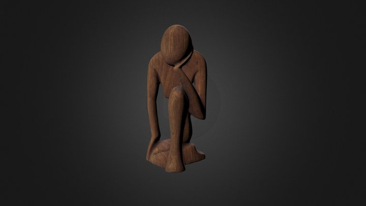 Wood Sculpture (Rodin Thinker) 3D Model