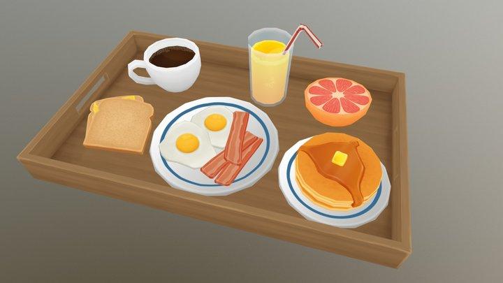 Low-Poly Breakfast 3D Model