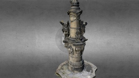 Statue near gothic church in town Most 3D Model