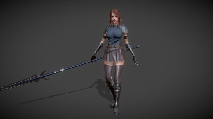 Female Lancer(Rigged,Game Ready,Tpose) 3D Model