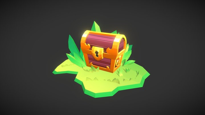 Treasure Chest - Gradient Shading 3D Model