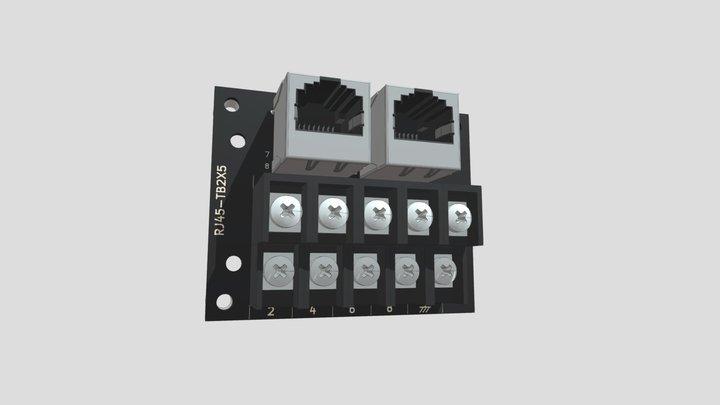 コネクタ端子台変換ユニット(RJ-45×2⇔端子台):ネジ取付け 3D Model