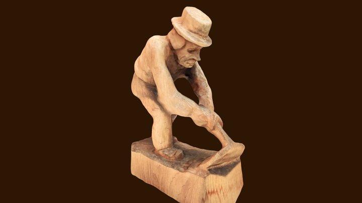 Old farmer, wooden mini statue 3D Model