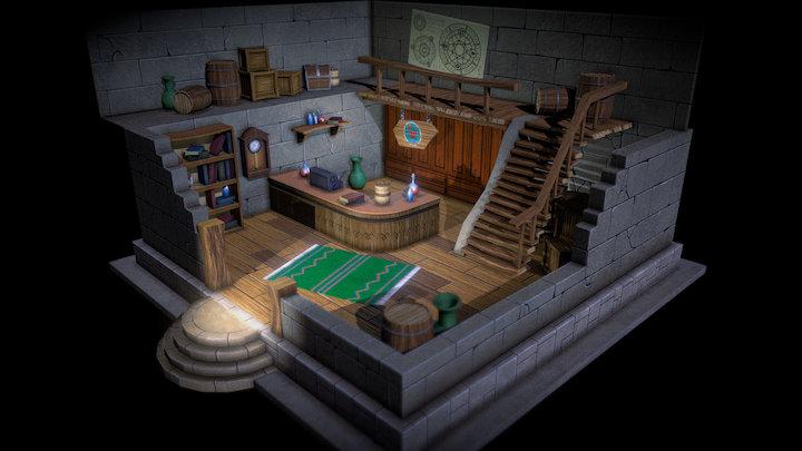 Fantasy handpainted shop 3D Model