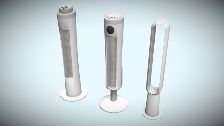 Low Poly Modern Tower Fans 3D Model