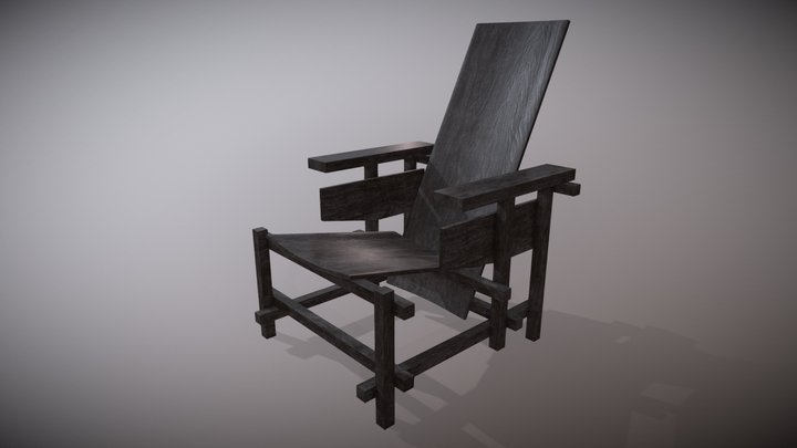 Prototype for Red-Blue Chair (G. Rietveld, 1918) 3D Model