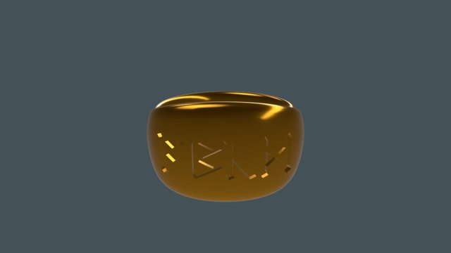 Signet Band Hybrid With Runes 3D Model