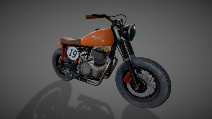 "Motorcycle - Custom Bike ""JAWA"" (LOW-POLY) 3D Model"