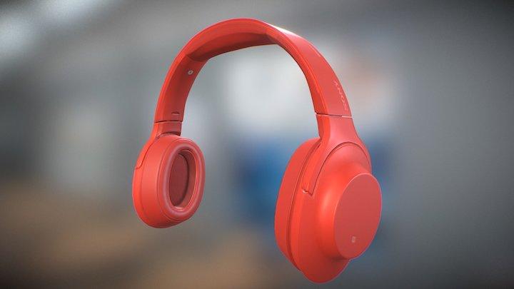 SONY MDR 100ABN Sinebar Red 3D Model