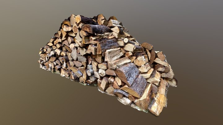 Photoscanned Pile of Chopped Wood Logs 3D Model