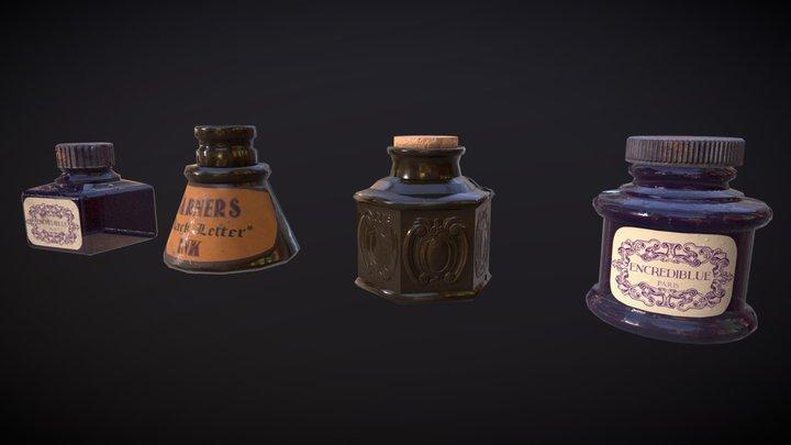VIntage Victorian ink bottles 3D Model