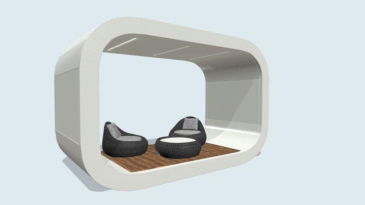 Беседка в стиле хай-тек с мебелью. 3D Model