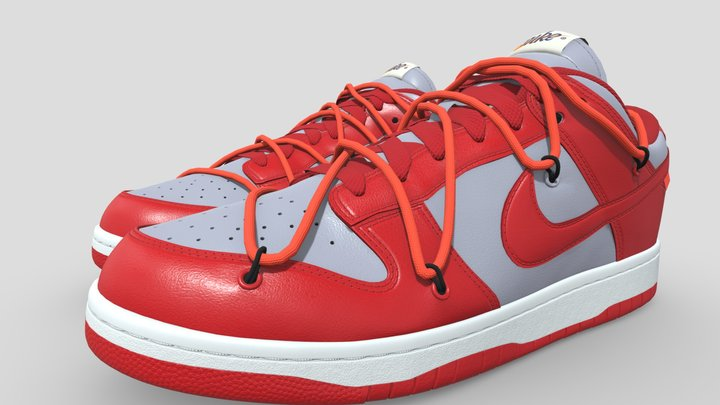 Nike Dunk Low Off-White University Red 3D Model