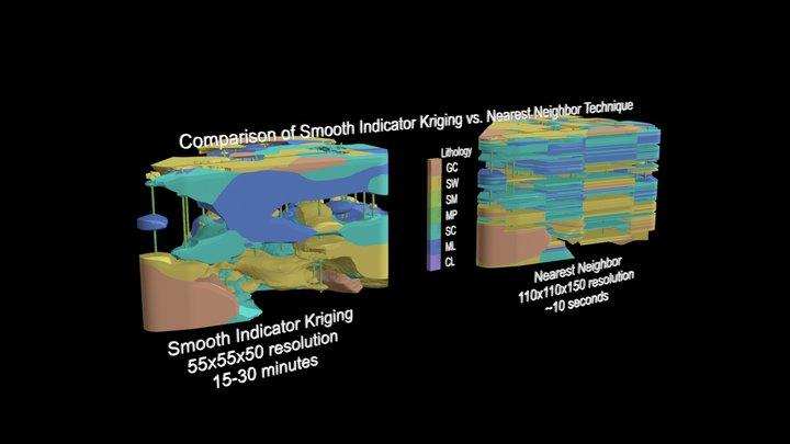Smooth Indicator Kriging vs. Nearest Neighbor 3D Model