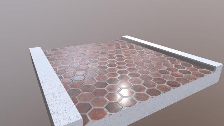 Hex Tile Walkway Segment 3D Model
