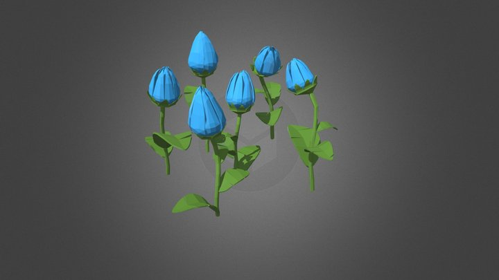 Blue Tulips - Low Poly 3D Model