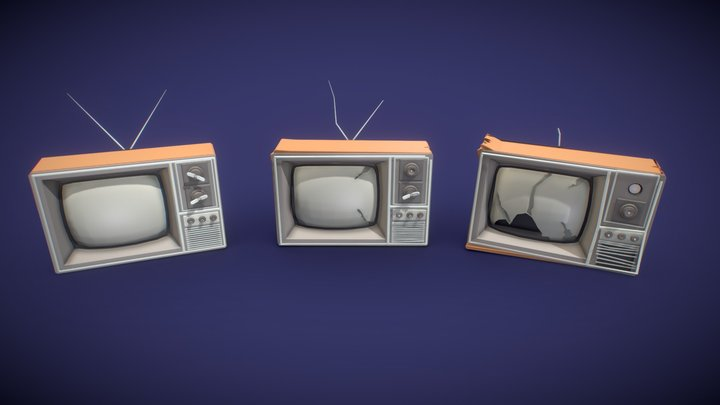 3 versions of OLD TV 3D Model