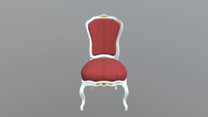 Red Baroque Dining Chair 3D Model