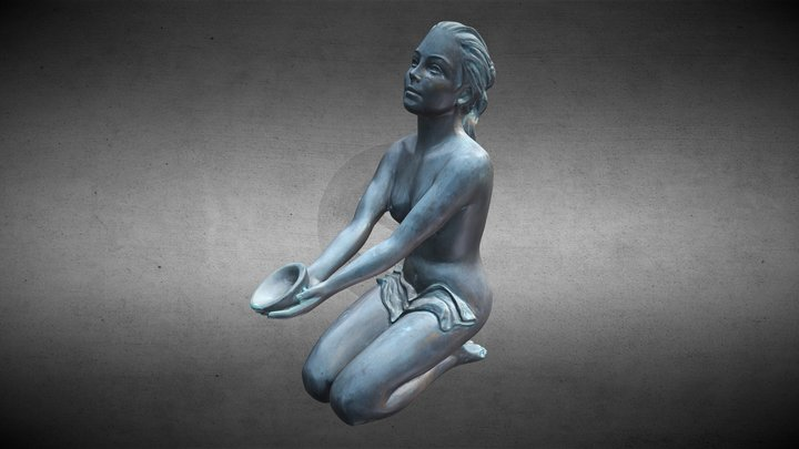 High detail 3D scan - bronze statue of a girl 3D Model
