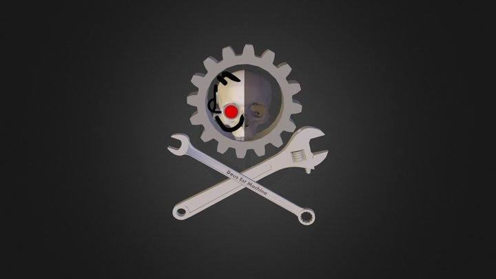 Adeptus Mechanicus Cross-Wrench Logo 3D Model