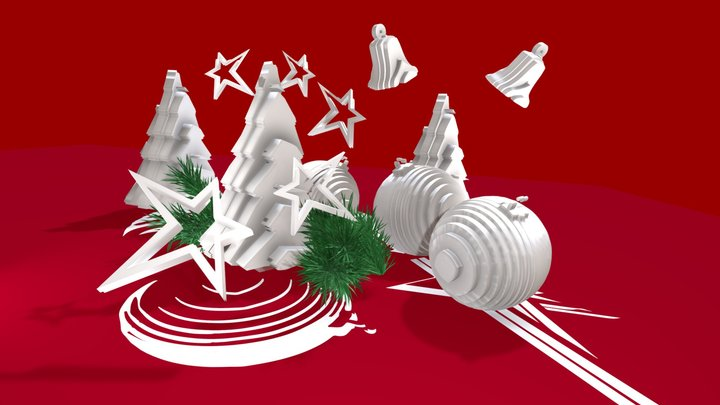 CHRISTMAS on red background 3D Model