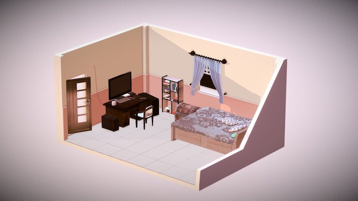 My Isometric Bed Room 3D Model