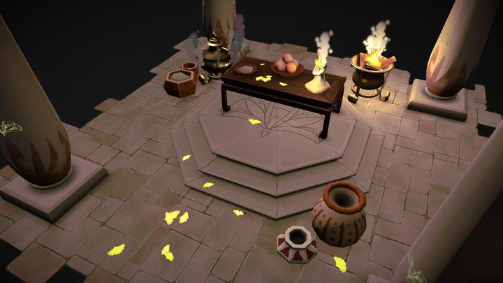 Low poly Ginkgo Altar 3D Model
