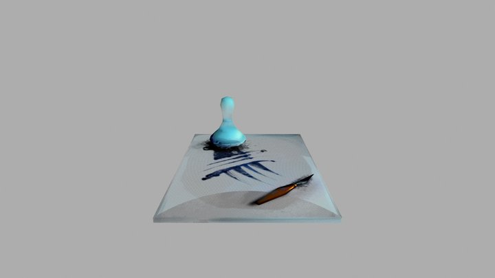 Muller and Palette Knife Paint Mixing Set 3D Model