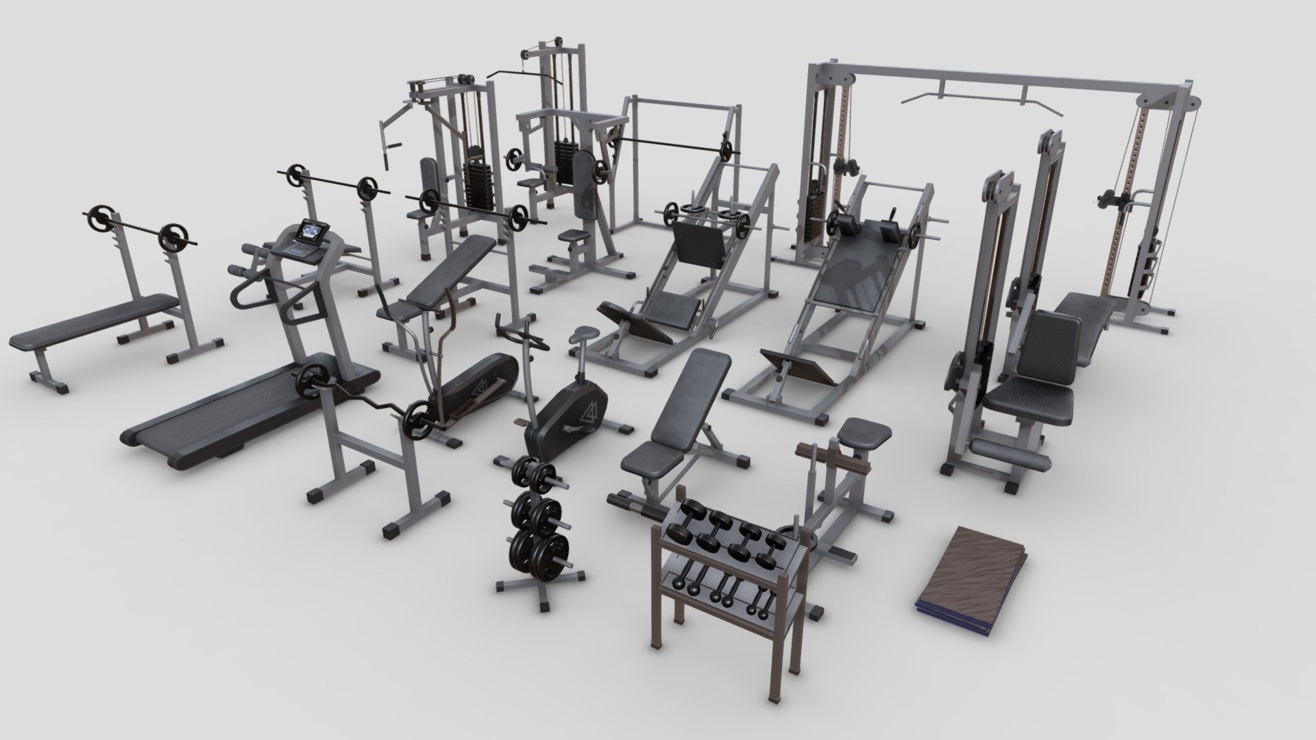 Gym Equipments - Buy Royalty Free 3D model by Elvair Lima (@elvair)  [14a4a06]