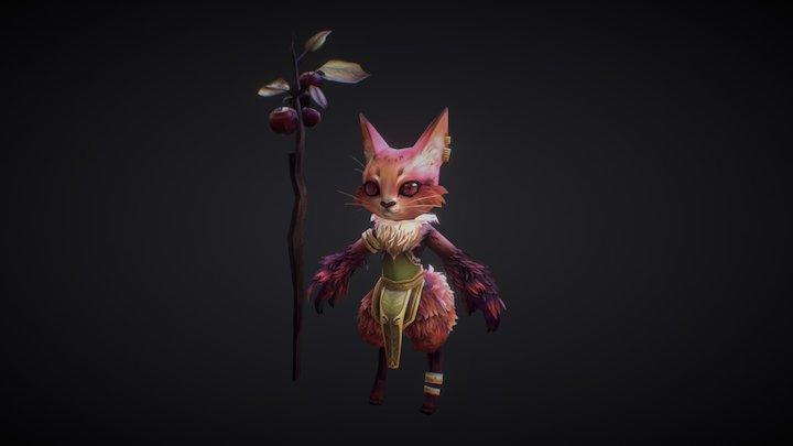 lowpoly fox Druid 3D Model