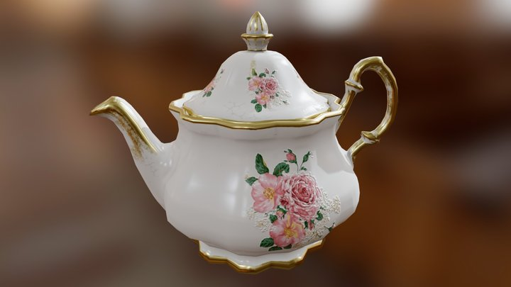 Porcelain Teapot 3D Model
