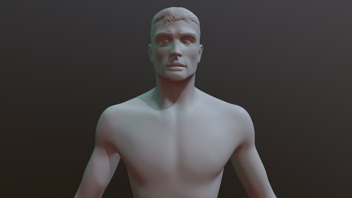 Male head and torso sculpt (High-Poly) 3D Model