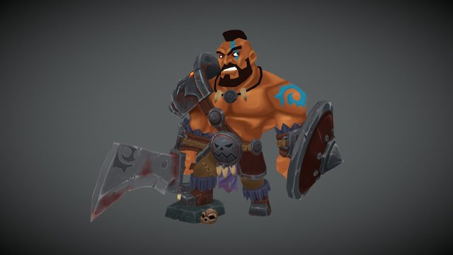 Hand-painted Barbarian 3D Model